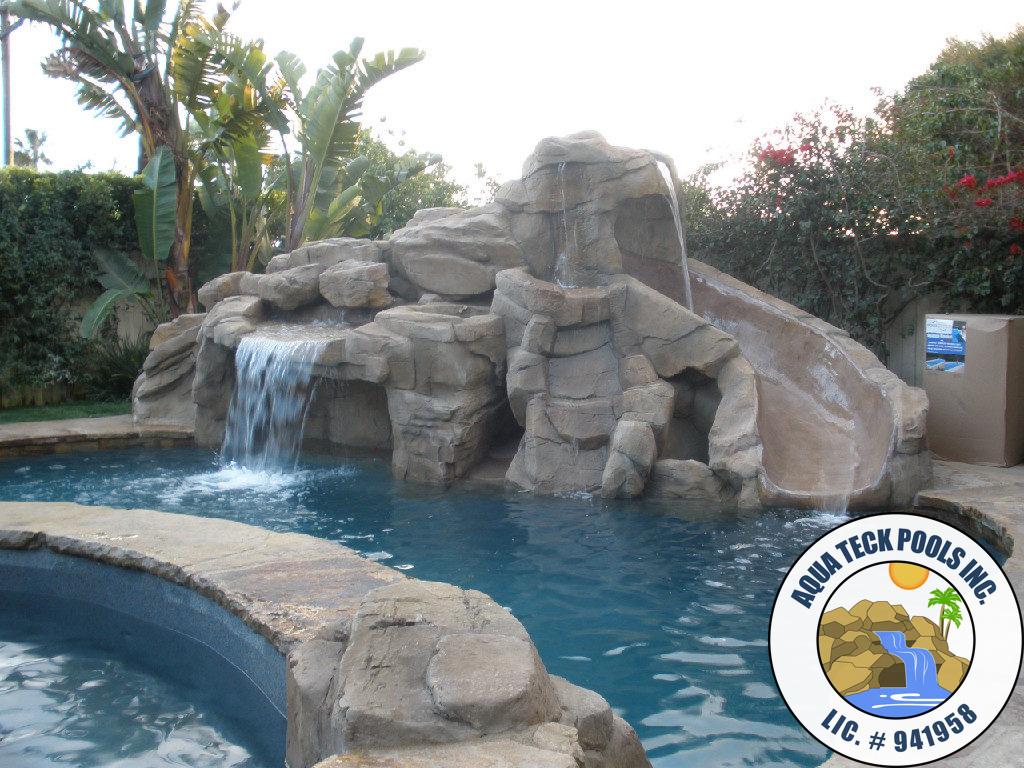 Swimming Pool Rock Waterfalls - Artificial Rock Pool Contractor Los ...
